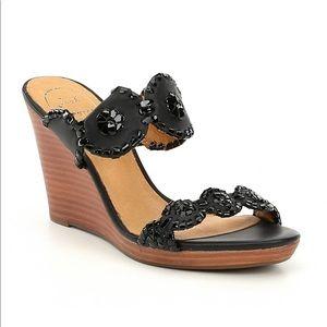 Jack Rogers NWOB Luccia Wedge sandal - black jewel